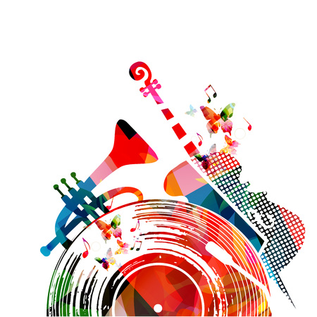 Colorful music background poster with vinyl record, violoncello, trumpet and music notes. Music festival poster vector illustration