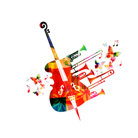 Colorful music background poster with violoncello, trumpet and music notes. Music festival poster with creative cello design vector illustration Foto de archivo - 103795065