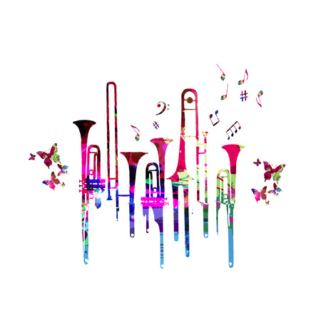 Colorful music background poster with trumpet and music notes. Music festival poster with creative trumpet design vector illustration Çizim