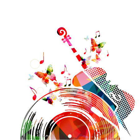 Colorful music background poster with vinyl record, violoncello and music notes. Music festival poster vector illustration Illustration