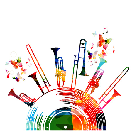 Colorful music background poster with vinyl record, trumpet and music notes. Music festival poster vector illustration
