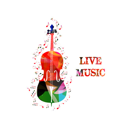 Music colorful background with music notes and violoncello vector illustration design. Music festival poster, live concert, creative cello design Archivio Fotografico - 106006112