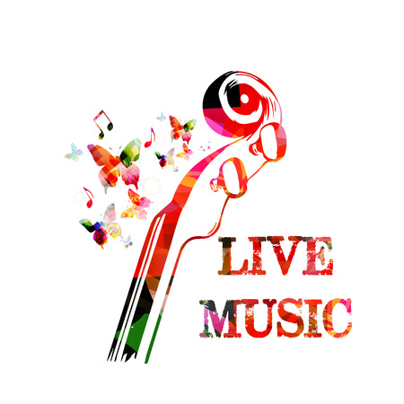 Music colorful background with music notes and violoncelo pegbox and scroll vector illustration design. Music festival poster, live concert, creative cello neck design Archivio Fotografico - 106006081
