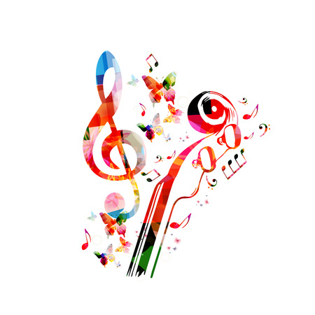 Music colorful background with music notes and violoncelo pegbox and scroll vector illustration design. Music festival poster, live concert, creative cello neck design Archivio Fotografico - 106006082