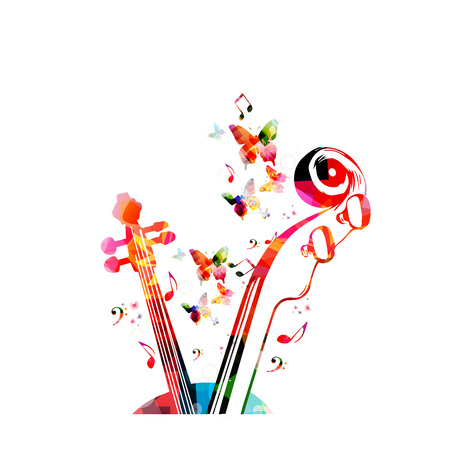 Music colorful background with music notes and violoncelo pegbox and scroll vector illustration design. Music festival poster, live concert, creative cello neck design Illustration