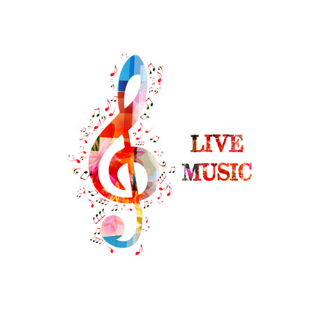 Music colorful background with G-clef and music notes vector illustration design. Music festival poster, live concert, creative music notes isolated Ilustração