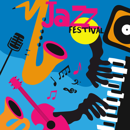 Jazz music background poster with music instruments. Saxophone, guitar, piano, microphone and gramophone flat vector illustration design for music festival, live concert, party, music event Ilustração