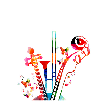 Music colorful background with music notes, trumpet and violoncelo pegbox and scroll vector illustration design. Music festival poster, live concert, creative cello neck design