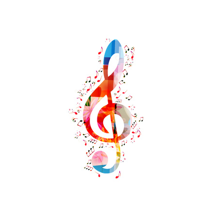 Musique fond coloré avec G-clef et notes de musique vector illustration design. Affiche du festival de musique, concert live, notes de musique créatives isolées