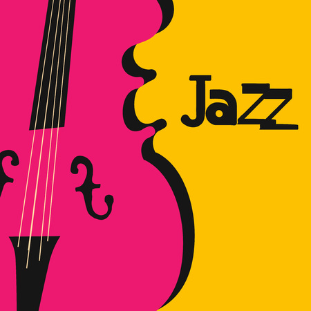 Jazz music typographic colorful background with violoncello vector illustration. Artistic music festival poster, live concert, creative banner design with cello. Word jazz Ilustração