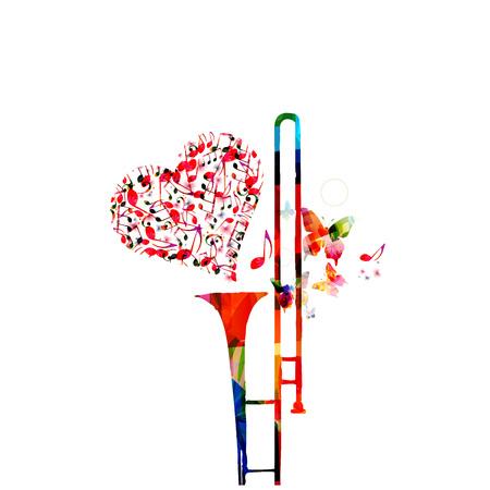 Fondo colorido de música con notas musicales y diseño de ilustración de vector de trombón. Cartel del festival de música, concierto en vivo, diseño creativo de trombón. Ilustración de vector