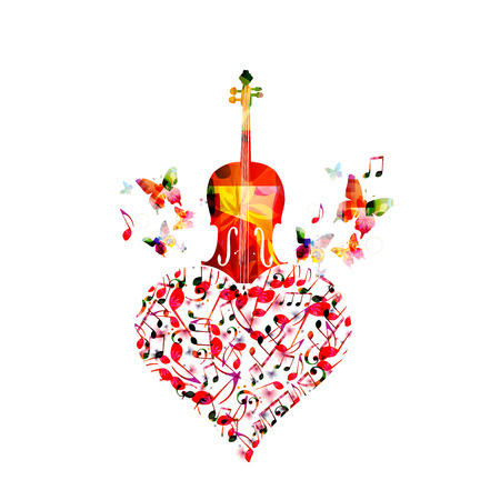 Music colorful background with music notes and violoncello vector illustration design. Music festival poster, live concert, creative cello design