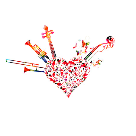 Música de fondo colorido con notas musicales, trompeta, trombón y violoncelo pegbox y diseño de ilustración de vector de desplazamiento. Cartel del festival de música, concierto en vivo, diseño creativo. Ilustración de vector