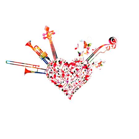 Musik farbenfrohen Hintergrund mit Musiknoten, Trompete, Posaune und Violoncelo Pegbox und Scroll Vektor-Illustration Design. Musikfestivalplakat, Live-Konzert, kreatives Design Vektorgrafik