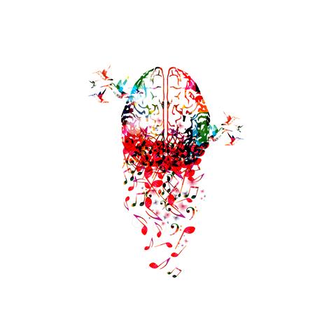 Cerveau humain coloré avec des notes de musique design d'illustration vectorielle isolé