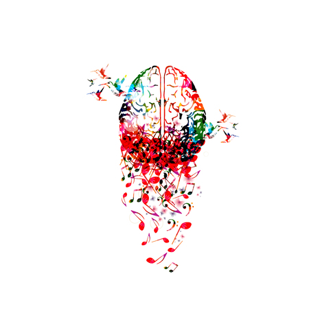 Colorful human brain with music notes isolated vector illustration design Illustration