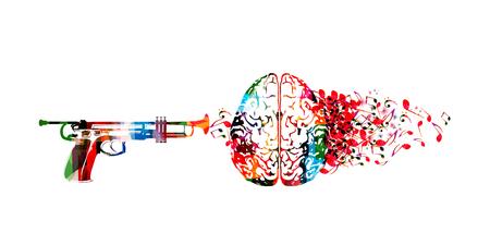 Cervello umano colorato con note musicali e disegno di illustrazione vettoriale isolato tromba. Manifesto del festival di musica artistica, concerto dal vivo, note musicali creative, ascolto di musica