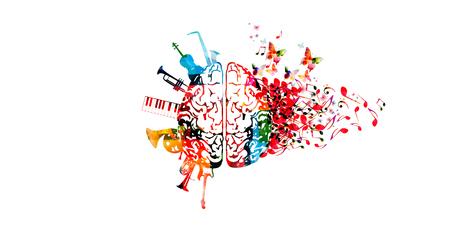 Cerebro humano colorido con notas musicales e instrumentos aislados diseño de ilustración vectorial. Cartel del festival de música artística, concierto en vivo, notas musicales creativas, escuchar música. Ilustración de vector