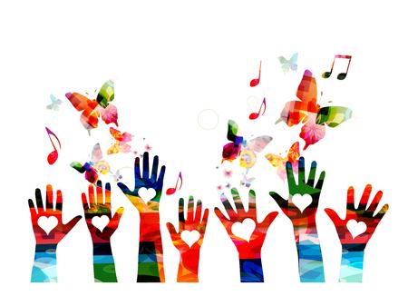 Muziek kleurrijke achtergrond met muzieknoten en handen vectorillustratie. Artistiek muziekfestivalaffiche, live concert, creatief liefdesmuziekontwerp