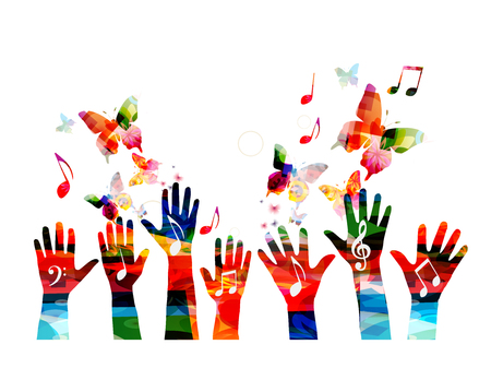 Music colorful background with music notes and hands vector illustration. Artistic music festival poster, live concert, creative design