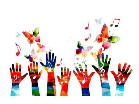 Muziek kleurrijke achtergrond met muzieknoten en handen vectorillustratie. Artistiek muziekfestivalaffiche, live concert, creatief ontwerp Vector Illustratie
