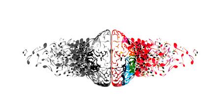 Cerebro humano colorido con notas musicales, diseño de ilustraciones vectoriales aisladas. Cartel de festival de música artística, concierto en vivo, diseño de notas musicales creativas.