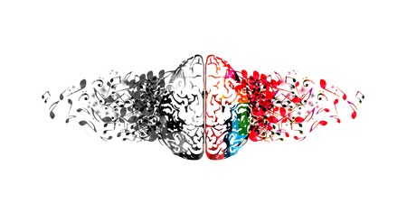 Kleurrijk menselijk brein met muzieknota's geïsoleerd vector illustratieontwerp. Artistieke muziekfestivalaffiche, live concert, creatief ontwerp van muzieknotities