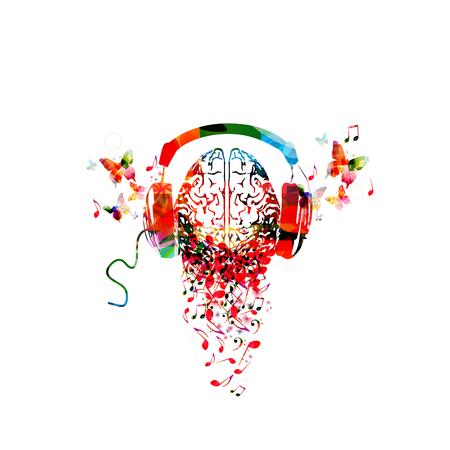 Cervello umano colorato con note musicali e cuffie isolato illustrazione vettoriale design. Manifesto del festival di musica artistica, concerto dal vivo, note musicali creative, ascolto di musica