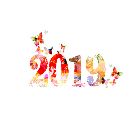 Happy New Year 2019 colorful template design background, vector illustration