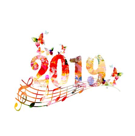 Feliz año nuevo 2019 fondo de diseño de plantilla colorida con notas musicales, ilustración vectorial Ilustración de vector