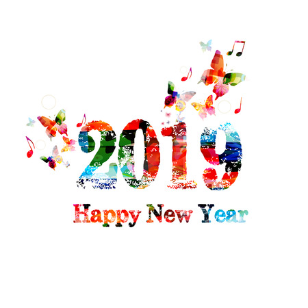 Happy New Year 2019 colorful lettering template design background. Typographic vector illustration