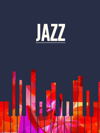 Musica di sottofondo jazz con illustrazione vettoriale tasti colorati del pianoforte. Manifesto del festival di musica artistica, concerto dal vivo, design creativo di banner con tastiera di pianoforte e parola jazz