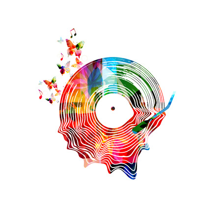 Music background with colorful vinyl record isolated vector illustration. Artistic music festival poster, live concert, creative design with lp record