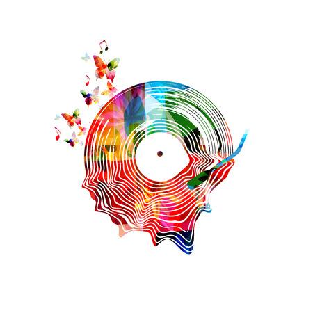 Musica di sottofondo con illustrazione vettoriale isolato disco in vinile colorato. Manifesto del festival di musica artistica, concerto dal vivo, design creativo con record lp