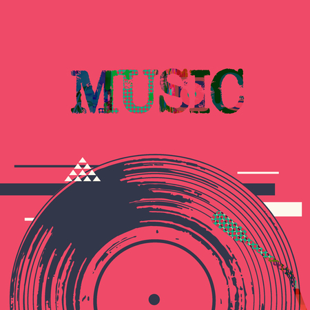 Music background with vinyl record vector illustration. Artistic music festival poster, live concert, creative design with lp record Stock Illustratie