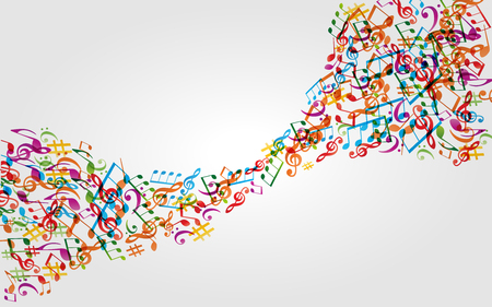 Music background with colorful music notes and G-clef vector illustration design. Artistic music festival poster, live concert, music notes signs and symbols