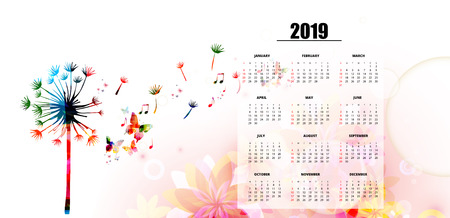 Calendar planner 2019 template with colorful dandelion. Nature themed calendar poster, week starts Sunday. Calendar layout for 2019 isolated, vector illustration background Illustration