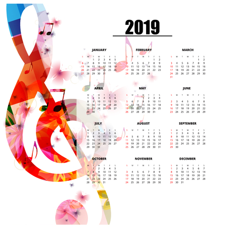 Plantilla de planificador de calendario 2019 con notas musicales coloridas. Cartel de calendario con temas musicales, la semana comienza el domingo. Diseño de calendario para 2019 aislado, fondo de ilustración vectorial Ilustración de vector
