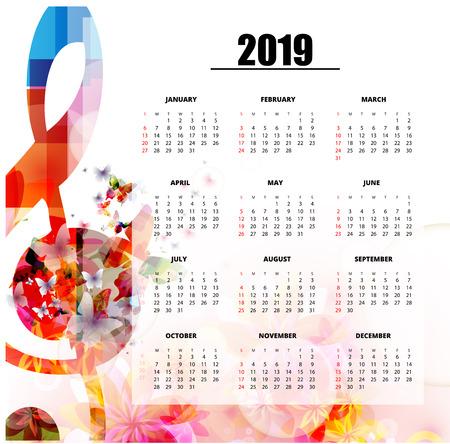 Plantilla de planificador de calendario 2019 con notas musicales coloridas. Cartel de calendario con temas musicales, la semana comienza el domingo. Diseño de calendario para 2019 aislado, fondo de ilustración vectorial