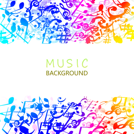 Music background with colorful music notes and G-clef vector illustration design. Artistic music festival poster, live concert, music notes signs and symbols banner