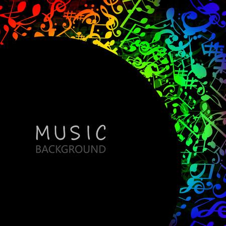Fond de musique avec des notes de musique colorées et conception d'illustration vectorielle G-clef. Affiche du festival de musique artistique, concert en direct, bannière de signes et symboles de notes de musique