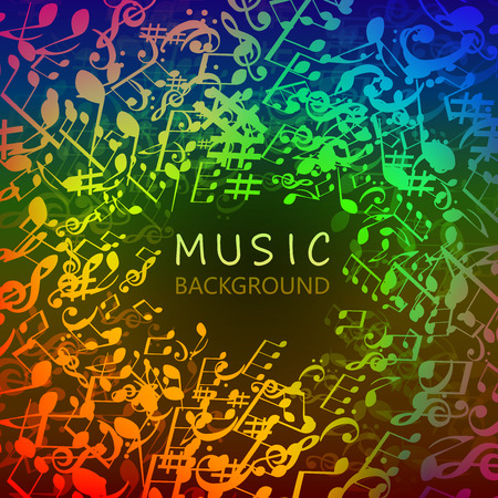 Music background with colorful music notes and G-clef vector illustration design. Artistic music festival poster, live concert, music notes signs and symbols banner Stock Vector - 109259587