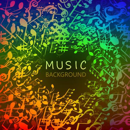 Musique de fond avec des notes de musique colorées et conception d'illustration vectorielle G-clef. Affiche du festival de musique artistique, concert en direct, bannière de signes et symboles de notes de musique