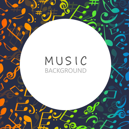 Music background with colorful music notes and G-clef vector illustration design. Artistic music festival poster, live concert, music notes signs and symbols banner Stock Vector - 109259590