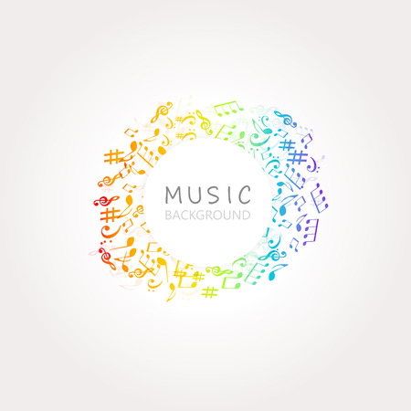 Music background with colorful music notes and G-clef vector illustration design. Artistic music festival poster, live concert, music notes signs and symbols banner Stock Vector - 109259594