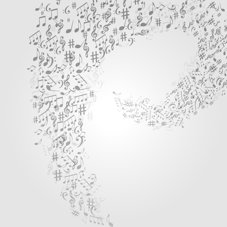 Music background with music notes and G-clef vector illustration design. Artistic music festival poster, live concert, music notes signs and symbols