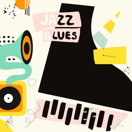 Jazz music colorful background flat vector illustration. Artistic music festival poster, live concert, listening to music, creative design with gramophone and piano