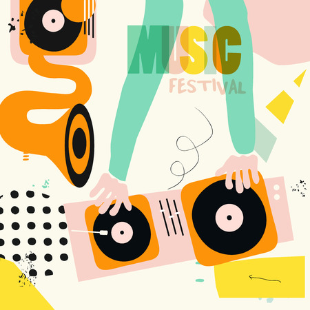 Music colorful background for dj mixing flat vector illustration. Artistic music festival poster, concert, creative design with gramophone and dj mixer. Party flyer