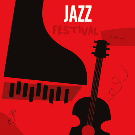 Music background with music instruments flat vector illustration. Artistic music festival poster, live concert, listening to music, creative design with guitar and piano. Party flyer Illustration