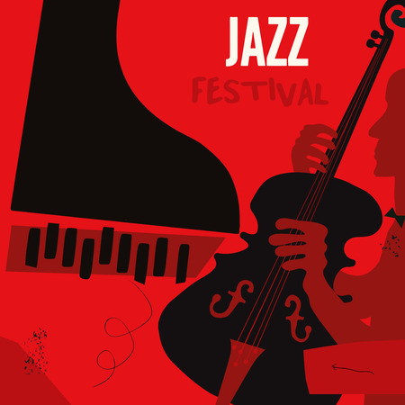 Music background with music instruments flat vector illustration. Artistic music festival poster, live concert, listening to music, creative design with violoncello and piano. Party flyer